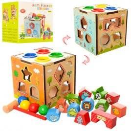 Игрушка из дерева Развивающий центр сортер + стучалка Куб 1082
