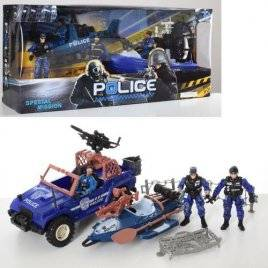Набор спасателей Полиция лодка+джип или вертолет F110-29-31