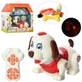 Собака c музыкальными и световыми эффектами ходит  реагирует на аксессуары 11031