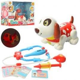 Собака c набором доктора музыкальными и световыми эффектами ходит реагирует на аксессуары 11033