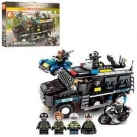Конструктор полицейская машина + спецназ 705 деталей 102438