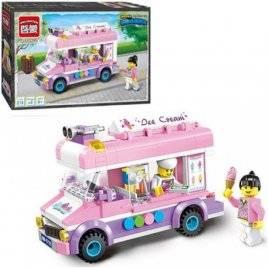 Конструктор Автобус Кафе на колесах розовый 212 деталей 1112 BRICK