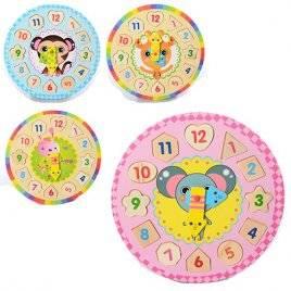 Деревянная игрушка Часы с вкладышами-цифрами MD 1137