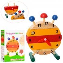 Деревянная игрушка Часы-будильник на штырьках MD 1141