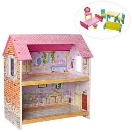 Домик для кукол деревянный с мебелью 2 этажа 1154
