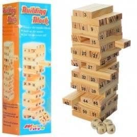 Игра деревянная Башня из цифр + игральные кости 1156