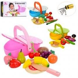 Деревянная игрушка продукты магнитные с корзинкой MD 1161