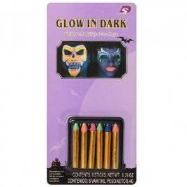 Аквагрим  светится в темноте мелки 6 цветов MK 1171
