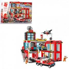 Конструктор пожарная станция+транспорт 693 детали 12014 Qman