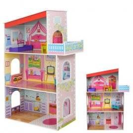 Домик для кукол деревянный 3 этажа с балконом и мебелью 1205
