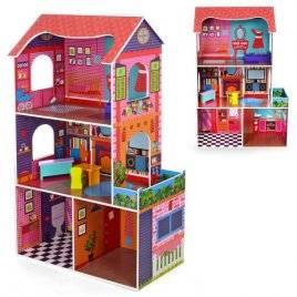 Домик для кукол деревянный 3 этажа 4 комнаты 1206