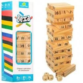 Игра деревянная Башня из цифр + игральные кости 1211