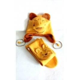 Комплект детский шапка и шарф Винни Пух желто-коричневый 2020