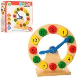 Деревянная игрушка Часы- сортер на подставке 1214