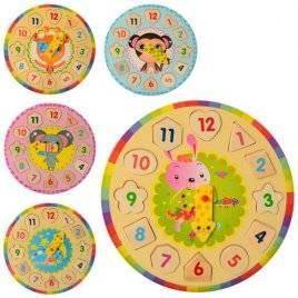 Деревянная игрушка часы круглые с сортером 1251