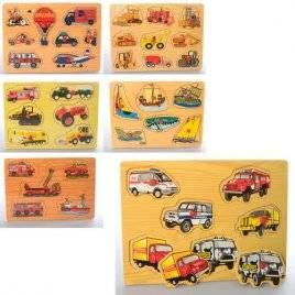 Деревянная игрушка рамка-вкладыш с ручками Транспорт 6 видов 1306