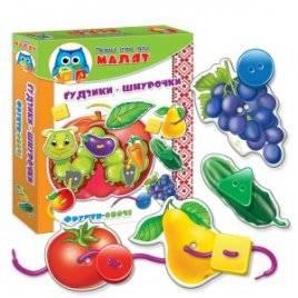 Игра Умничка для малышей «Пуговки-шнурочки. Фрукты-овощи»VT1307-09