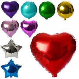 Шарики надувные фольгированные для праздника Сердце, Шар или Звезда МК 1343