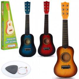 Гитара деревянная с медиатором 52 см 1370