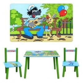 Детский столик и два стульчика зеленые «Ну, погоди!» деревянный 1433