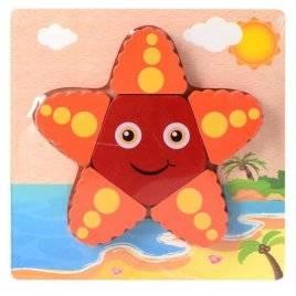 Пазлы деревянные объемные морская звезда 15-15-2