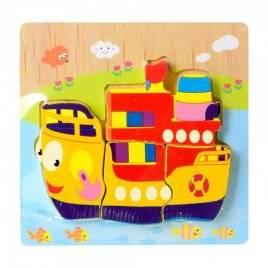 Деревянная игрушка Пазлы объемные корабль 15-15-8