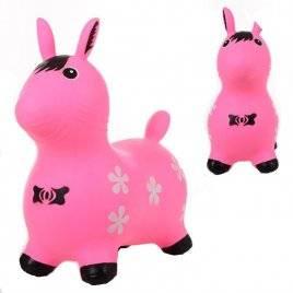 Игрушка прыгун резиновый для детей Розовая лошадь 1571