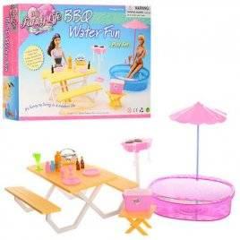 Мебель для кукол Бассейн со столиком и зонтом 1679 Gloria