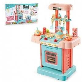 Кухня игровая  детская в чемодане музыкальная со световыми эффектами + продукты и посудка 16824