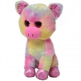 Мягкая игрушка глазастая Свинка Радужная 25 см 1751 средняя