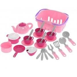 Посудка розовая в корзинке Нежность 7181 ТехноК