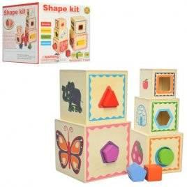 Кубики деревянные 3 в 1 Пирамидка, куб и сортер 2026