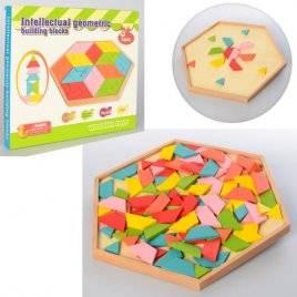 Деревянная игра Геометрия-мозаика Узорная с игровым полем 2027