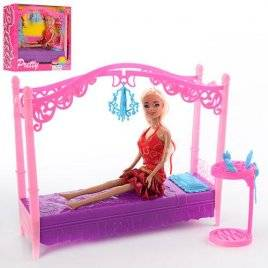 Мебель для кукол Стильная спальная. Кровать с куклой SY-2027-2