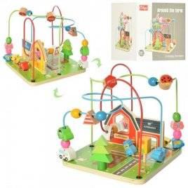 Лабиринт деревянный игрушка на проволоке городок MD 2053