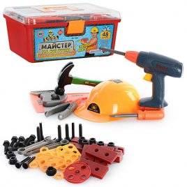 Набор инструментов детских в чемодане с каской 2056