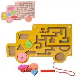 Деревянная игрушка  машинка лабиринт с металлическими шариками и магнитной палочкой MD 2058