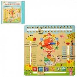 Деревянная игрушка Часы-календарь на украинском языке 2063