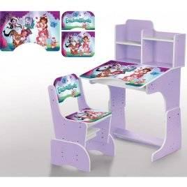 Парта детская растишка Enchantimals со стульчиком, полочками фиолетовая 2071-57-3 Bambi