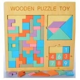 Деревянная игрушка Геометрика  Тетрис, фигуры+ цифры 2109