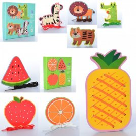 Деревянная шнуровка   Животные или фрукты 2110