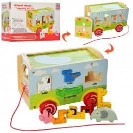Деревянная игрушка Сортер каталка фигурки-животные MD 2122