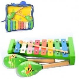 Деревянные музыкальные инструменты ксилофон+ маракасы 2127 с сумке