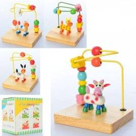 Лабиринт деревянный игрушка на проволоке Коровка MD 2130