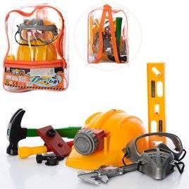 Набор инструментов с каской в рюкзаке со светом 2145 желтые