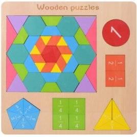 Геометрика деревянная игрушка фигуры цифры дроби MD 2162