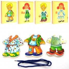 Деревянная шнуровка - пазлы Мальчик или девочка в пенале BLS 218