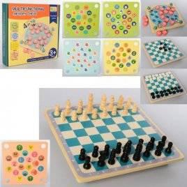Деревянная игра  4в1 шашки шахматы фишки карточки MD 2211