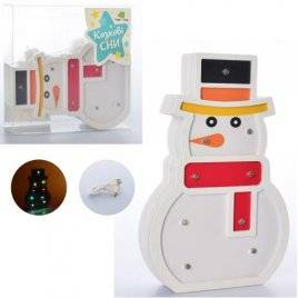 Деревянная игрушка Ночник Снеговик MD 2221