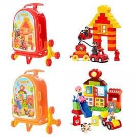 Конструктор игровой  в чемодане Пожарная часть или Дом с горкой 38 деталей 222-C22A-25A